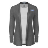 Ladies Heather Grey Open Front Cardigan-Standard Logo