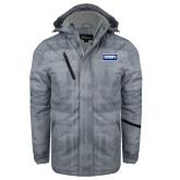Grey Brushstroke Print Insulated Jacket-Standard Logo