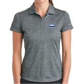 Ladies Nike Dri Fit Charcoal Crosshatch Polo-Standard Logo