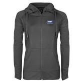 Ladies Sport Wick Stretch Full Zip Charcoal Jacket-Standard Logo