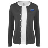 Ladies Charcoal Cardigan-Standard Logo