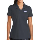 Ladies Nike Golf Dri Fit Charcoal Micro Pique Polo-Standard Logo