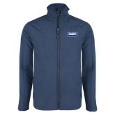 Navy Heather Softshell Jacket-Standard Logo