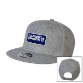 Heather Grey Wool Blend Flat Bill Snapback Hat-Standard Logo