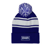 Royal/White Two Tone Knit Pom Beanie w/Cuff-Standard Logo
