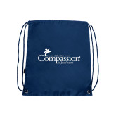 Nylon Navy Drawstring Backpack-w/Tag Line