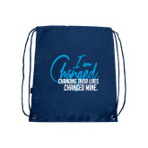 Nylon Navy Drawstring Backpack-I am Changed-Changing Their Lives Changed Mine.