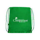 Nylon Kelly Green Drawstring Backpack-w/Tag Line
