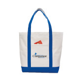 Contender White/Royal Canvas Tote-w/Tag Line