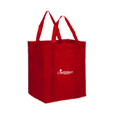 Non Woven Red Grocery Tote-w/Tag Line