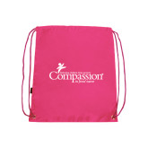 Nylon Pink Drawstring Backpack-w/Tag Line