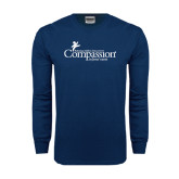 Navy Long Sleeve T Shirt-w/Tag Line