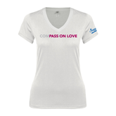 Next Level Ladies Junior Fit Deep V White Tee-Compassion Love