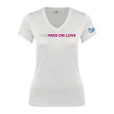 Next Level Ladies Junior Fit Deep V White Tee-Compassion Love