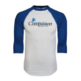 White/Royal Raglan Baseball T Shirt-w/Tag Line