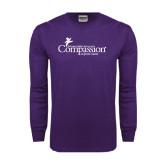 Purple Long Sleeve T Shirt-w/Tag Line