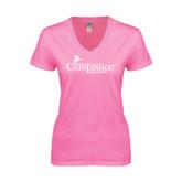 Next Level Ladies Junior Fit Deep V Pink Tee-w/Tag Line