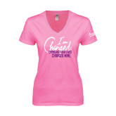 Next Level Ladies Junior Fit Deep V Pink Tee-I am Changed-Changing Their Lives Changed Mine.