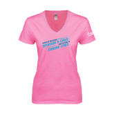 Next Level Ladies Junior Fit Deep V Pink Tee-Join the Fight to End Extreme Poverty