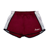 Ladies Maroon/White Team Short-w/Tag Line