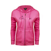 ENZA Ladies Fuchsia Fleece Full Zip Hoodie-Foil w/Tag Line