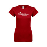 Next Level Ladies SoftStyle Junior Fitted Cardinal Tee-w/Tag Line