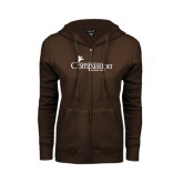 ENZA Ladies Brown Fleece Full Zip Hoodie-w/Tag Line