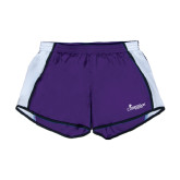 Ladies Purple/White Team Short-w/Tag Line