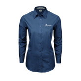 Ladies Deep Blue Tonal Pattern Long Sleeve Shirt-