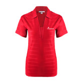 Ladies Red Horizontal Textured Polo-