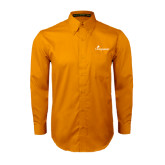 Gold Twill Button Down Long Sleeve-