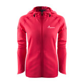 Ladies Tech Fleece Full Zip Hot Pink Hooded Jacket-