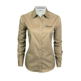 Ladies Khaki Twill Button Down Long Sleeve-