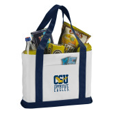 Contender White/Navy Canvas Tote-CSU Coppin State Eagles