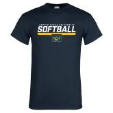 Navy T Shirt-Coppin State University Softball Stencil