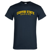 Navy T Shirt-Arched Coppin State Eagles