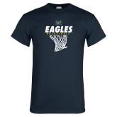 Navy T Shirt-Eagles Basketball w/ Hanging Net