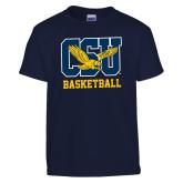 Youth Navy T Shirt-Basketball
