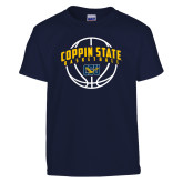 Youth Navy T Shirt-Coppin State Basketball Arched w/ Ball