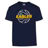 Youth Navy T Shirt-Eagles Basketball Split Lined Ball