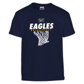 Youth Navy T Shirt-Eagles Basketball w/ Hanging Net