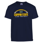 Youth Navy T Shirt-Coppin State Club Football w/ Football