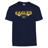 Youth Navy T Shirt-Eagles Club Football Stacked