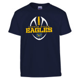 Youth Navy T Shirt-Coppin State Eagles Football Vertical