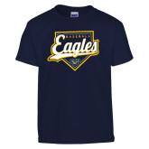 Youth Navy T Shirt-Eagles Baseball Plate w/ Script