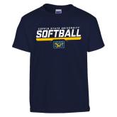 Youth Navy T Shirt-Coppin State University Softball Stencil