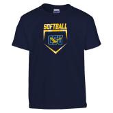 Youth Navy T Shirt-Softball Plate