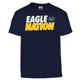 Youth Navy T Shirt-Eagle Nation