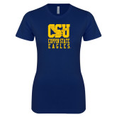 Next Level Ladies SoftStyle Junior Fitted Navy Tee-CSU Coppin State Eagles