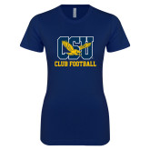 Next Level Ladies SoftStyle Junior Fitted Navy Tee-Club Football